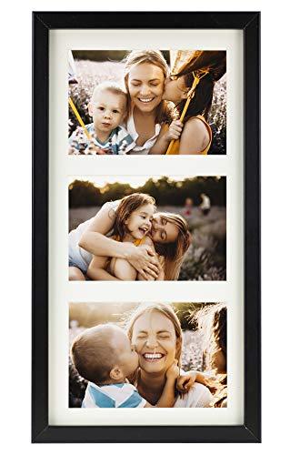 BD ART 18 x 35 cm Mehrfach Bilderrahmen, Bildergalerie, Fotogalerie mit Passepartout und 3 Foto-Ausschnitten für Fotos 10 x 15 cm, Schwarz