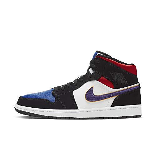 Nike Herren Air Jordan 1 Mid Se Basketballschuhe, Schwarz (Black/Field Purple/White/Gym Red/Rush Blue/Amarillo 005), 46 EU