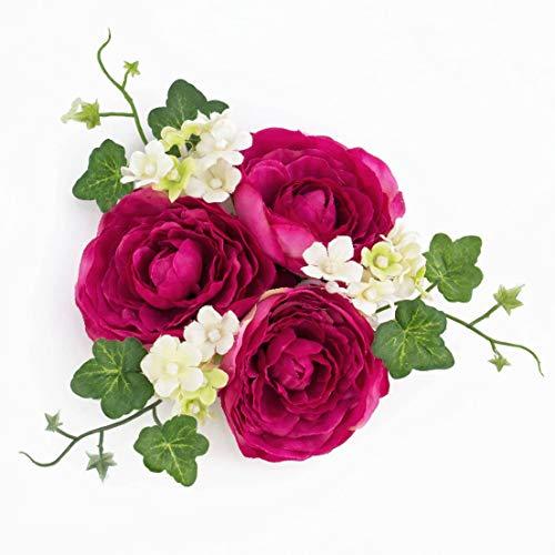 artplants.de Deko Ranunkeln und Efeu Ring für Weinflaschen und Kerzen, pink, Ø 13cm - Kerzenkranz