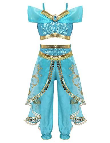 dPois Mädchen Arabische Bauch Tanz Cosplay Kostüm Crop Top Lange Hose mit Pailletten Quasten Kinder Prinzessin Outfits für Bühne Auftritt Fasching Blau 98-104/3-4 Jahre