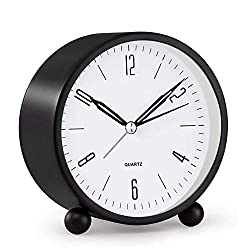 Analog Alarm Clock, 4 inch Super Silent Non Ticking Small Clock with Night Light, Battery Operated, Simply Design, for Bedroon, Bedside, Desk, Black