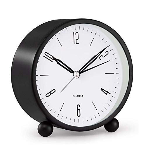 Analoger Wecker, 10,2 cm, superleise, nicht tickend, kleine Uhr mit Nachtlicht, batteriebetrieben, einfaches Design, für Schlafzimmer, Schreibtisch, schwarz