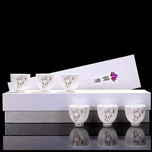XYSQWZ Juego De Té De Porcelana Blanca Taza De Té Maestra del Zodíaco Chino Copa De Vino Pequeña Regalo Práctico para Empresas Logotipo Personalizado-12 Taza del Zodiaco Conejo