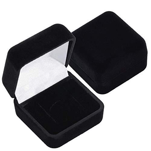EYS JEWELRY Schmuck-Etui für Ring Ohrstecker 40 x 40 x 28 mm Samt schwarz Ring-Box Schachtel Schatulle Geschenk-Verpackung