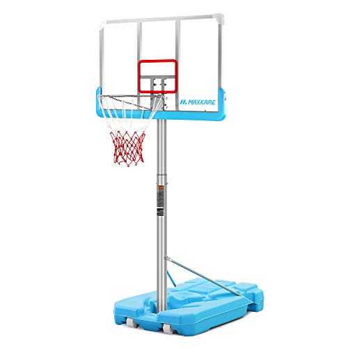 MaxKare Poolside Basketball Hoop System Portable Swimming Pool Basketball Goal Set Game Stand Adjustable Height 47''-79'' Outdoor Indoor For Kid Adult W Aluminum Alloy Anti-Rust Shatterproof Backboard