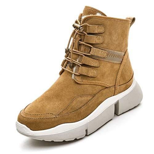 JHU Botas de Nieve de Suela Suave Cálida de Invierno para Mujer, Zapatillas de Deporte de Plataforma de Felpa, Zapatos de Algodón Al Aire Libre