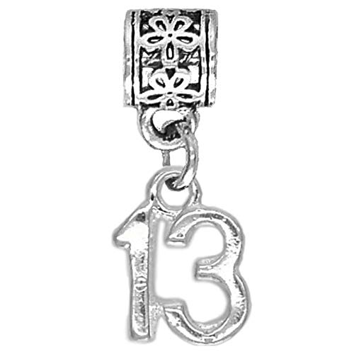 13th Birthday Age 13 Number Dangle Pendant Charm for Charm Bracelets for Girls Women (13)