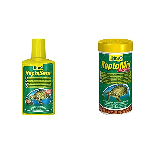 Tetra ReptoSafe Wasseraufbereiter (bereitet Leitungswasser sicher für Wasserschildkröten auf), 250 ml Flasche & ReptoMin Energy, Vitalfutter für Wasserschildkröten, 250 ml Dose