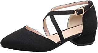 VogueZone009 Women's Low-Heels Frosted Solid Buckle Pointed-Toe Sandals, CCALP015381