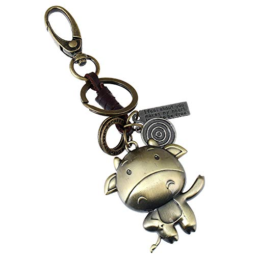 Qinlee Retro Schlüsselanhänger Kupferfarbe Tier Schlüsselring Rucksack Auto Anhänger Ornament Lederweberei Schlüsselbund Mode Zubehör für Unisex (Kuh)