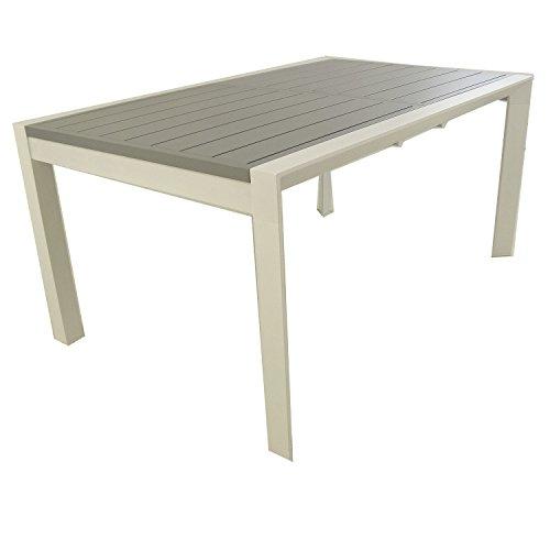 Edenjardi Mesa para Exterior Extensible de 160 cm a 220 cm, Aluminio Color Blanco y Tablero Color Gris, Tamano: 160/220x98x76 cm