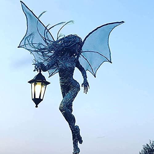 NUB Elf Skulptur mit Laterne Harz Gartendekoration Engel Mädchen Statue mit Flügeln Tisch Mittelstücke für Schlafzimmer Glühende Einweihungsfeier Garten Dekor Sammlung,Glow