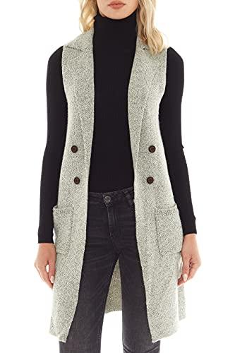 Love Tree Women's Sleeveless Long Sweater Vest Open Front Knit Cardigan Waistcoat (Leaf, Medium)
