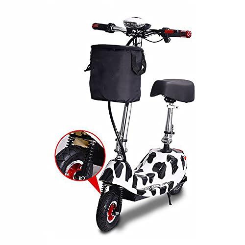 MKKYDFDJ Desplazamientos Patinete Eléctrico,Plegable Delfín-Forma E-Bicicleta con Cesta De La Compra,Velocidad Máxima 25km/H,Neumáticos De 8 Entradas,Doble Absorción De Impactos,con Asiento