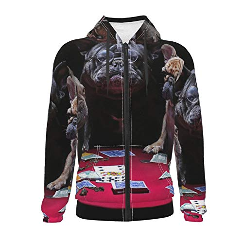 Vizor Boys Kid Zipper Hoodies Funly French Bulldogs Playing Cards Novelty Hooded Sweatshirts Long Sleeve Pullover Zip-Up Jacket