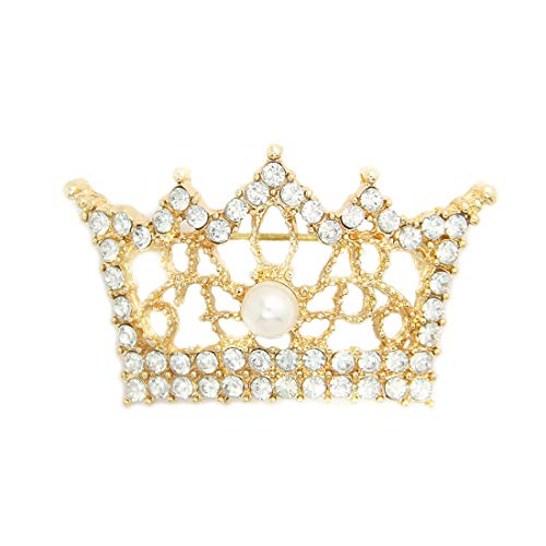OLBGELYING Woman Jewelry Crown Diamond 3D Brooch Retro Alloy Pearl Crown Corsage Corsage Chapter Day Gift Collar Pin Brooch Delicate Jewelry