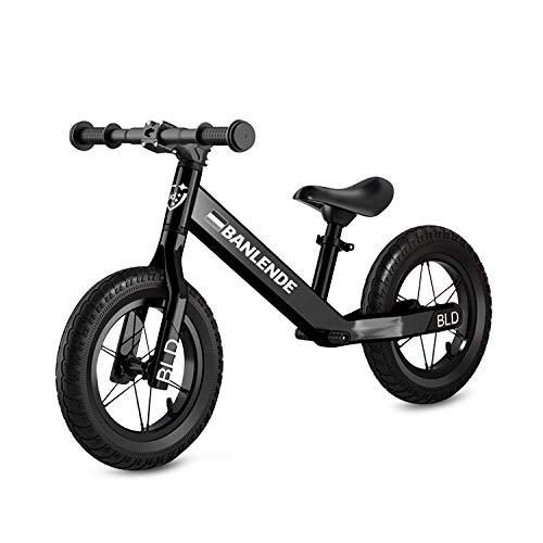 Zeroall 12' Seguridad Bicicleta sin Pedales para Niños de 2-6 Años Bicicleta de Equilibrio Aleación de Aluminio Balance Bike con Sillín Ajustable Excelente Regalo para Niños y Niños Pequeños(Negro)