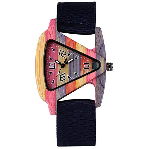 IOMLOP Reloj de Madera, Reloj de Madera de bambú para Mujer, Esfera Triangular, Correa de Nailon Duradera, Relojes de Cuarzo para Hombre y Mujer, Azul