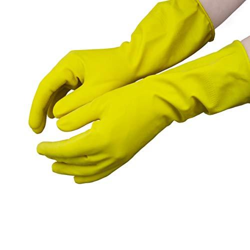 Hevea, guanti in lattice con interno floccato per uso domestico. Confezione da 12 paia. Taglia: M (Medium). Colore: giallo