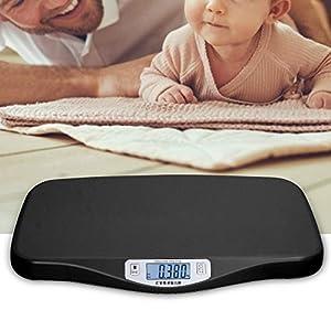 Báscula para Bebés, 50g-20kg Pantalla Digital Báscula para Niños Pequeños Multifunción, Báscula para Mascotas, Pelado Automático Báscula Electrónica para bebés para Niños Pequeños/Gatos/Perros(Negro)