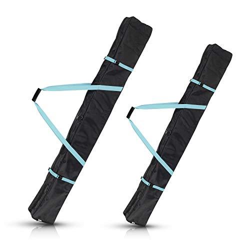 Navaris Skisack Skitasche versch. Größen - Tasche 1 Paar Ski mit 2 Stöcken - Skibag Skihülle - Robuste Skitasche für 1 Paar Ski in Schwarz Petrol