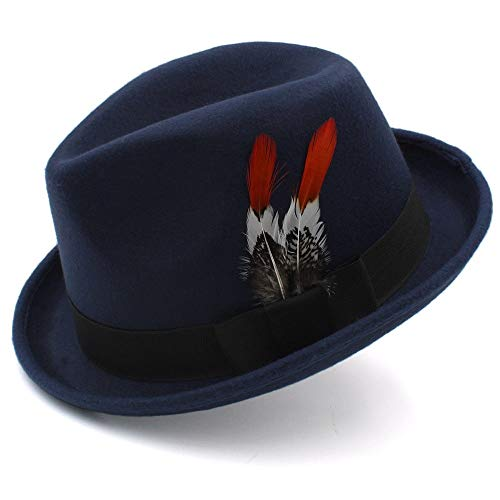 No-branded HOUJHUS Sombrero de Jazz for Caballero Sombrero de Lana for Caballero Gorra de Inglaterra Sombrero Casual de otoño e Invierno Sombrero Negro de Fedora (Color : Azul Oscuro, Size : 56-58cm)
