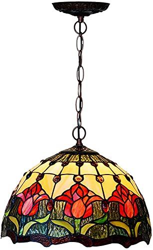 Tiffany Style Tulip Lights Colgante Luces de vidrio europeo Lámparas colgantes Retro Ajustable Island Luces para el Salón Comedor Cocina Cafetería Bar, Max40W, 12 pulgadas, B (Color : B)