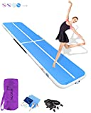 HIJOFUN Premium Air Track 20ftx3.3ftx8in Airtrack Gymnastics Tumbling Mat Inflatable Tumble Track with Electric Air Pump for Home Use/Gym/Yoga/Training/Cheerleading/Outdoor/Beach/Park Blue