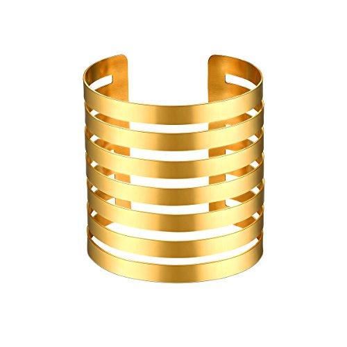 FOCALOOK Armspange für Damen Mädchen Edelstahl Offene Stulpe 72mm breit Simpel Linien Design Armreif Armband Gold
