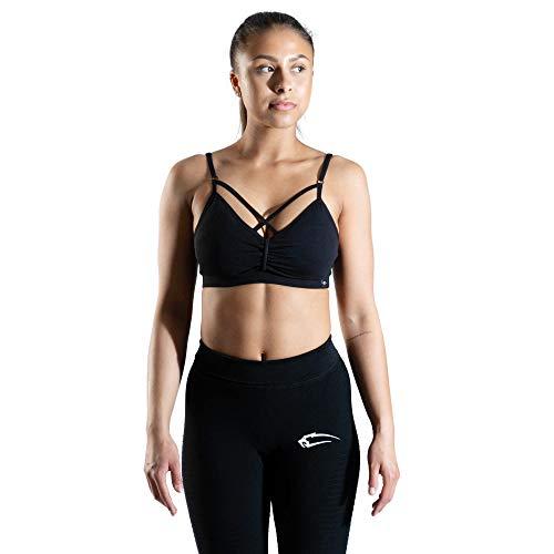 SMILODOX Sport Bra Jelly | Fitness-BH ohne Bügel | Herausnehmbare Cups | Bustier für Pilates Yoga Gym Fitness | Soft Büstenhalter, Farbe:Schwarz, Größe:S