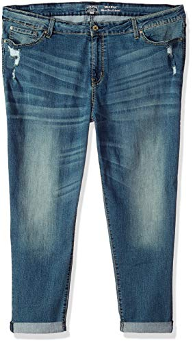 Signature by Levi Strauss & Co. Gold Label Women's Plus Size Mid Rise Slim Boyfriend Jeans, Rumi, 22