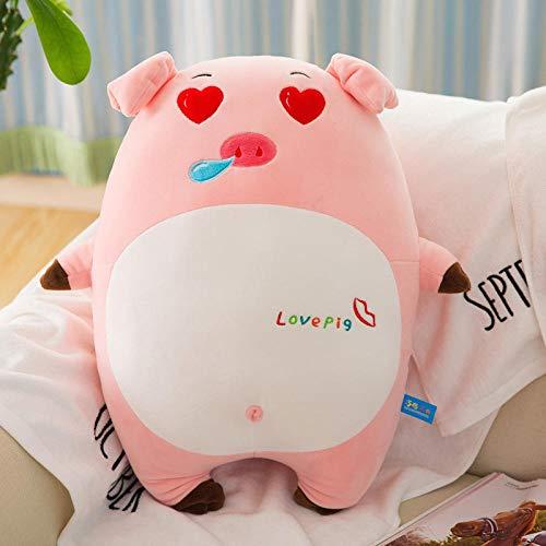 Pluche Leuke Software Emoticon Roze Varken Slaapkussen Knuffel Doll-Flower Fool_40cm