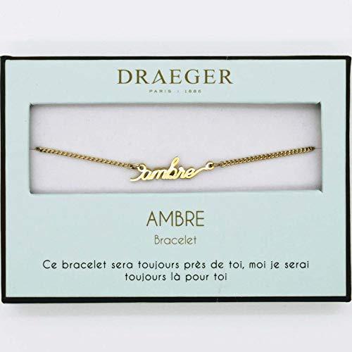 Armband, voornaam, personaliseerbaar, barnsteen, 14 cm, verstelbaar