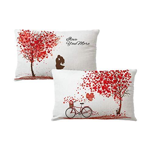 Paquete 2 Fundas Almohada para el día San Valentín, Rojo, árbol, Hojas Arce, Bicicleta Amor, Rectangular, Funda cojín para la Cintura, Fundas Almohada románticas 18 '(Rojo)