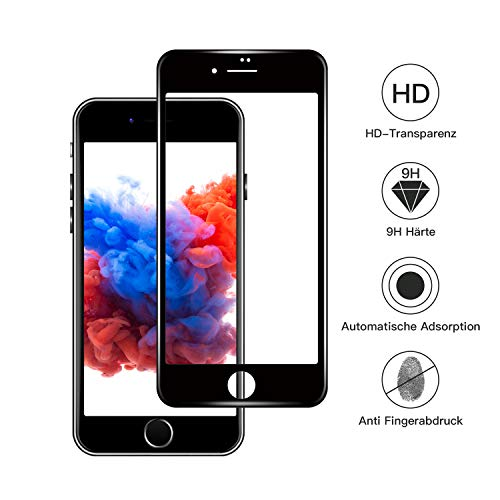 IPhone 8/iPhone 7 Screen Protector Full-Coverage Tempered-Glass [Case Friendly] Oleophobic Coating Bubble Free 9H Hardness Anti Shatter Easy Installation Frame 3D Curved Edges 0.25mm 4.7
