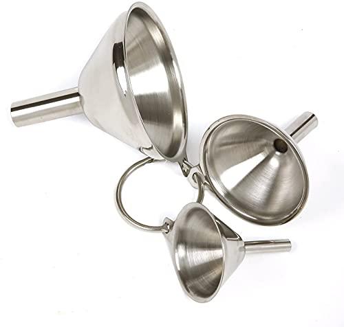 Trichter, 3 Teiliges Edelstahl Küchentrichter Set Zum Umfüllen Von Flüssigkeiten Ölpulver