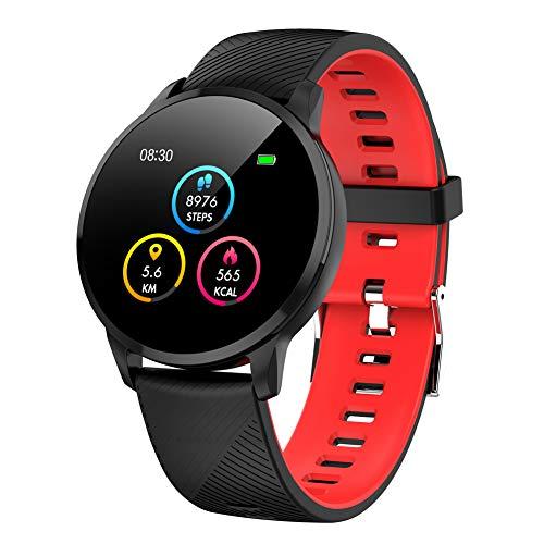 Kivors Reloj inteligente Bluetooth con frecuencia cardíaca y monitor de presión arterial y sueño, contador de calorías, IP67 resistente al agua, monitor de actividad y salud Negro Rojo