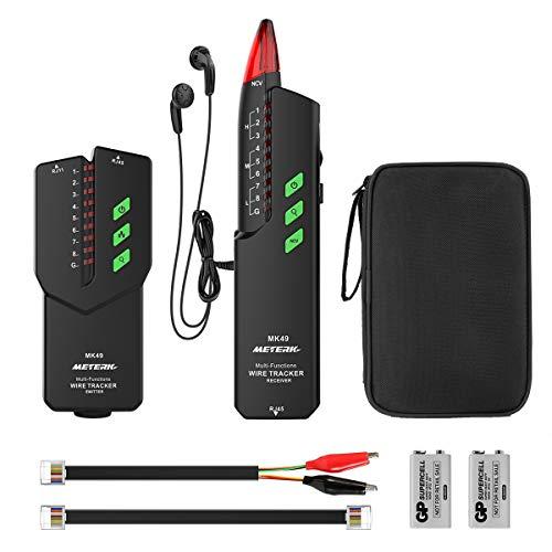Kabeltester, Meterk Kabelfinder RJ11/ RJ45 Leitungssucher Line Finder Netzwerkprüfgeräte für Kabel, Telefonleitungen, LAN-Kabel und Batterie