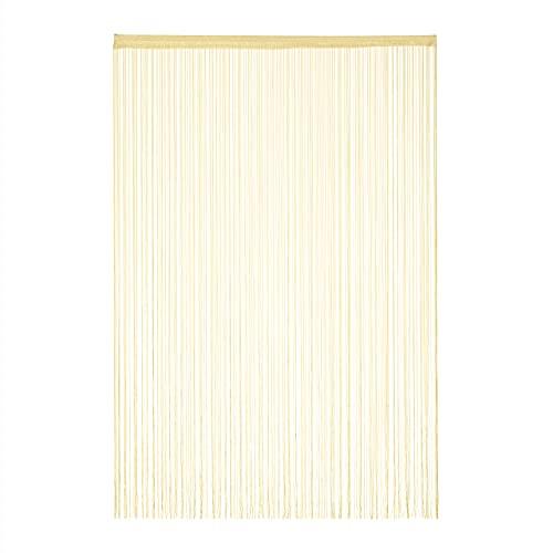 Relaxdays Fadenvorhang, 145x245 cm, mit Tunneldurchzug, kürzbar, für Türen & Fenster, Fadengardine, waschbar, beige