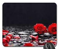 赤いバラと花びらの石水カスタマイズされたマウスパッド長方形のマウスパッドゲーミングマウスマット