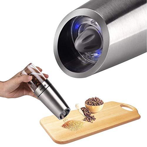 SZJXZ Molino De Sal Y Pimienta Eléctrico Por Gravedad Automático Luz Led Molinillo De Sal Pimentero Cocina Condimento Herramientas De Molienda