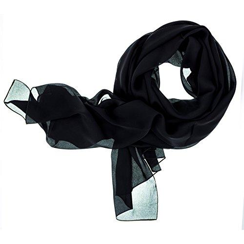 DOLCE ABBRACCIO by RiemTEX ® Schal Damen LADY SUNSHINE Seidentuch Tücher mit hohem Seidenanteil Pashmina Stola Tuch in Schwarz Halstuch Kopftuch Damen Seidenschal Elegante Schals (Schwarz)