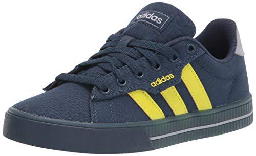 adidas Daily 3.0 Skate Shoe, Crew Navy/Acid Yellow/Halo Silver, 2.5 US Unisex Little Kid
