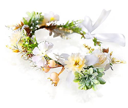 Irtyif Corona De Flores Cabello, Guirnalda floral niña, diadema de flores bohemia ajustable, diadema hawaiana, tocado de corola y cinta, adecuado para damas y niñas (estilo A)