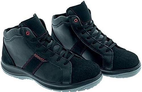 Aboutbleu 1928806LA S3 SRC DGUV 112-191, Detroit Mid, Chaussures de sécurité imperméables, unisexe, noir, cuir, taille 42
