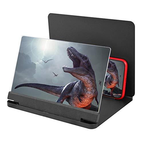 KONGZIR 12-Zoll-Handy 3D-Screen Video Lupe 8/9' Folding Curved Vergrößerte Smartphone Film Verstärkungs-Projektor Standhalter (Color : White)