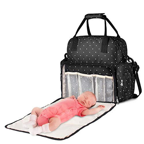 H&J Baby Changing Bag, Multi-Function Portable Foldable Mummy Bag Baby Nappy Diaper Bag Backpack for Travel, Outdoors, Camping,Black