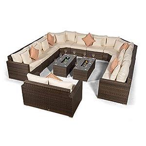 Giardino Santorini 12 Sitzer Rattan Gartenmöbel Set Grau - 10er Sofa, 2X Eiskühler Couchtische, 2er Sofa + Abdeckungen…