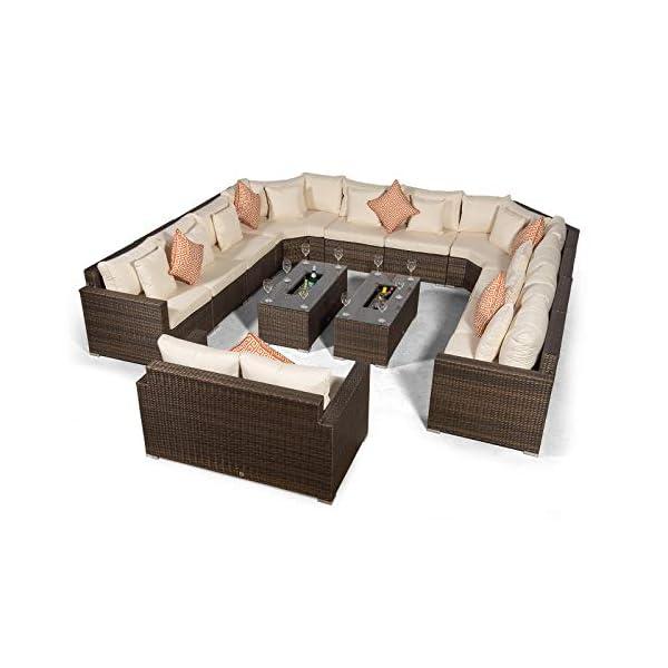 Giardino Santorini 12 Sitzer Rattan Gartenmöbel Set Braun - 10er Sofa, 2X Eiskühler Couchtische, 2er Sofa + Abdeckungen…