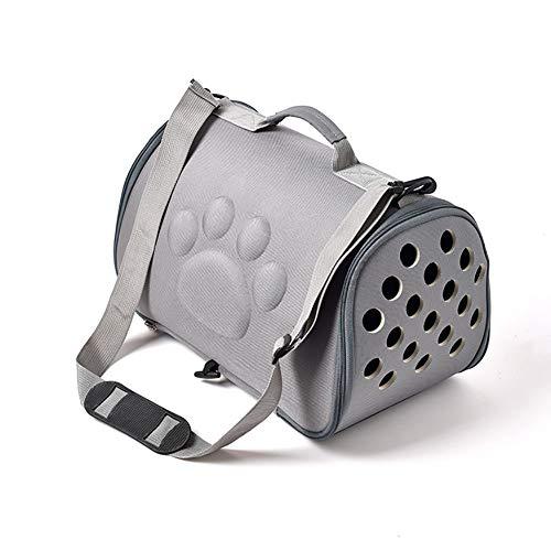 ZUOQUAN Katzentransportbox - Ideal für Katzen & kleine Hunde - Stabile Transporttasche mit großem Blickfeld - Transportbox Katze - Stilvolle Katzenbox,Gray,L